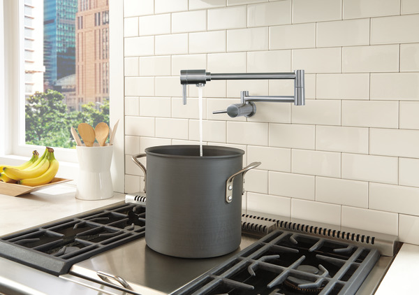 Contemporary Wall Mount Pot Filler Delta Faucet
