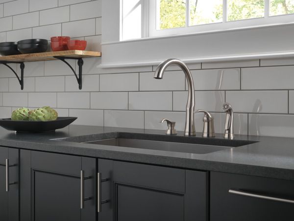11946 sssd dst single handle kitchen faucet with spray bellini single handle kitchen faucet with soap dispenser