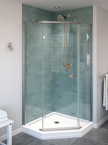 "Delta Bathroom Faucet Repair >> 38"" Frameless Neo Angle Shower Enclosure 422061 | Delta Faucet"