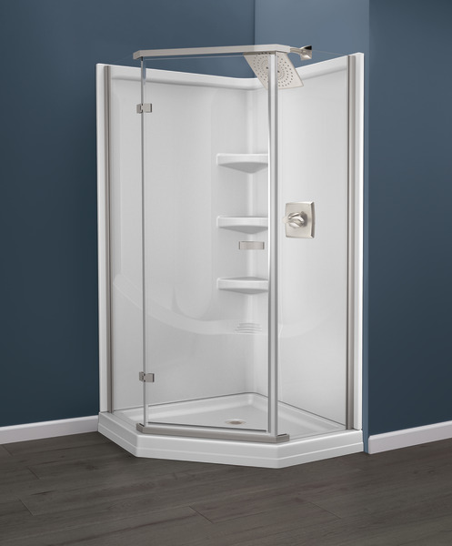 38 Direct To Stud Corner Shower Wall Set B67916 3838 Wh