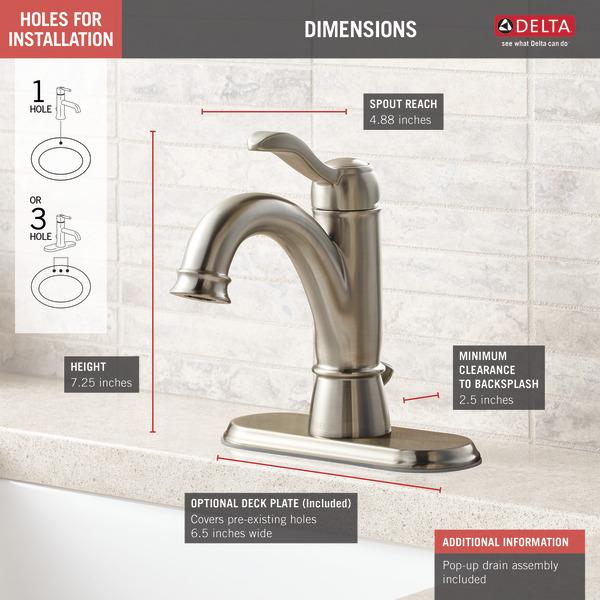 Single Handle Bathroom Faucet 15984LF-BN-ECO   Delta Faucet