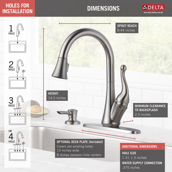 Single Handle Pull Down Kitchen Faucet With Soap Dispenser 16968 Sssd Dst Delta Faucet