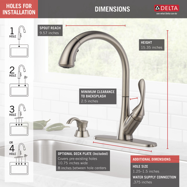 Delta 19922Z-SSSD-DST Ashton Stainless 1-Handle Deck Mount Pull-Down ShieldSpray Kitchen Faucet DELTA FAUCET CO