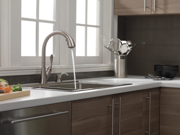 Single Handle Pull-Down Kitchen Faucet with Soap Dispenser 19922 ...