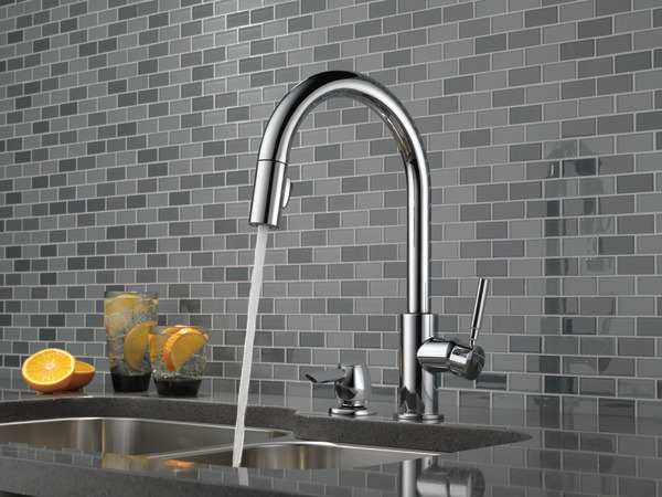 Single Handle Pull-Down Kitchen Faucet with Soap Dispenser 19933-SD on