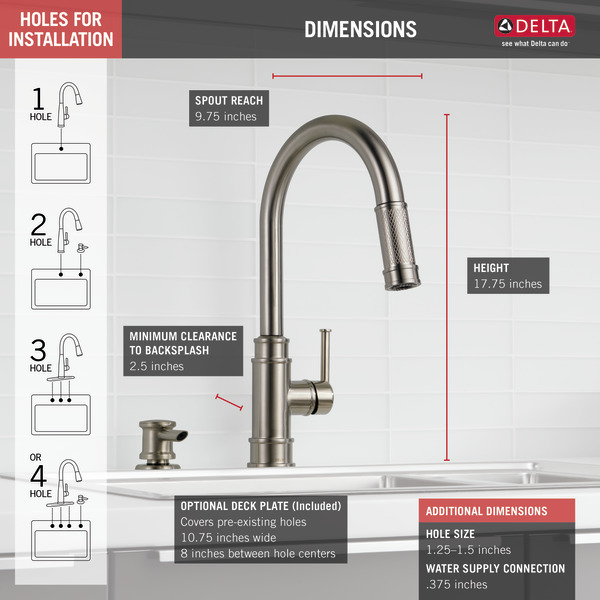 Single Handle Pull Down Kitchen Faucet 19935 Spsd Dst Delta Faucet
