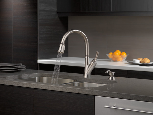 Single Handle Pull-Down Kitchen Faucet with Soap Dispenser 19949 ...