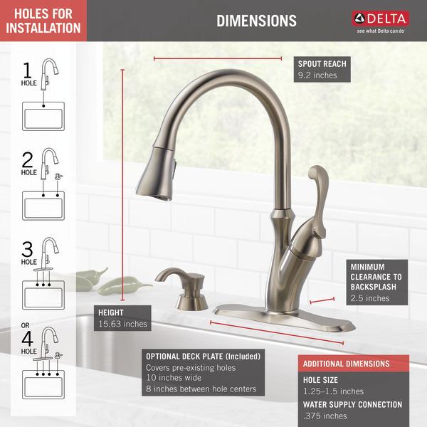Single Handle Pull Down Kitchen Faucet With Soap Dispenser 19950 Sssd Dst Delta Faucet