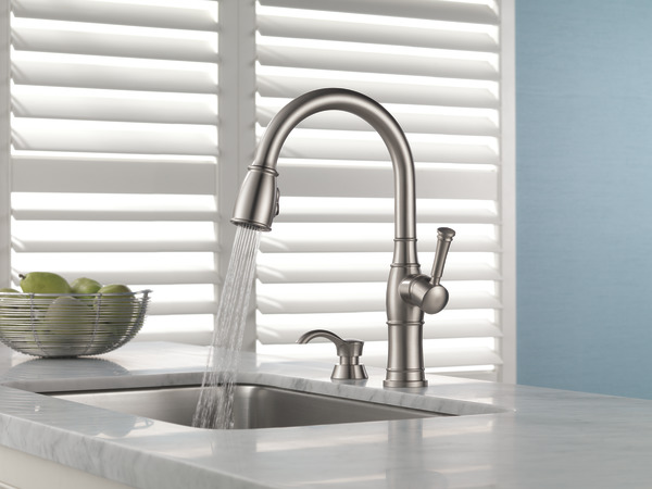 Single Handle PullDown Kitchen Faucet With Soap Dispenser - Delta valdosta kitchen faucet
