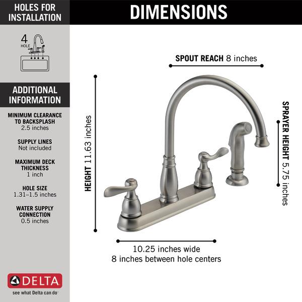 Two Handle Kitchen Faucet 21996lf Ss Delta Faucet