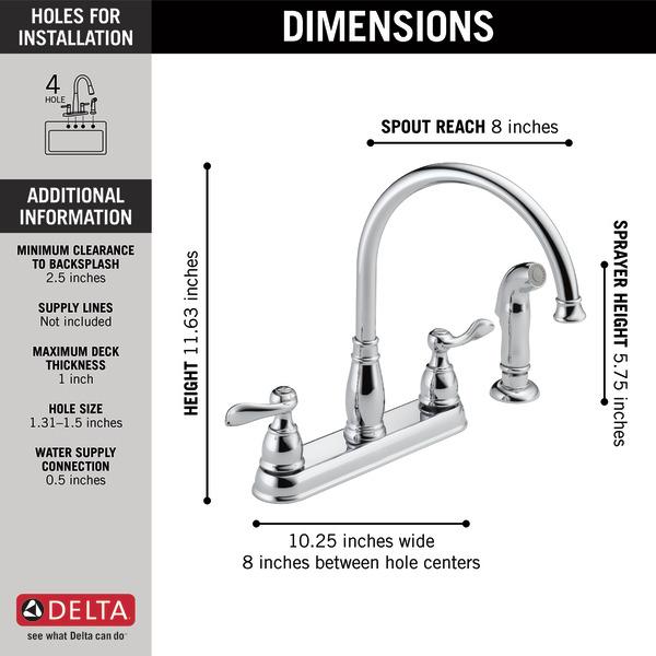 two handle kitchen faucet 21996lf delta faucet