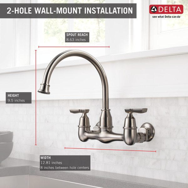 Two Handle Wall Mounted Kitchen Faucet 22722lf Ss Delta Faucet