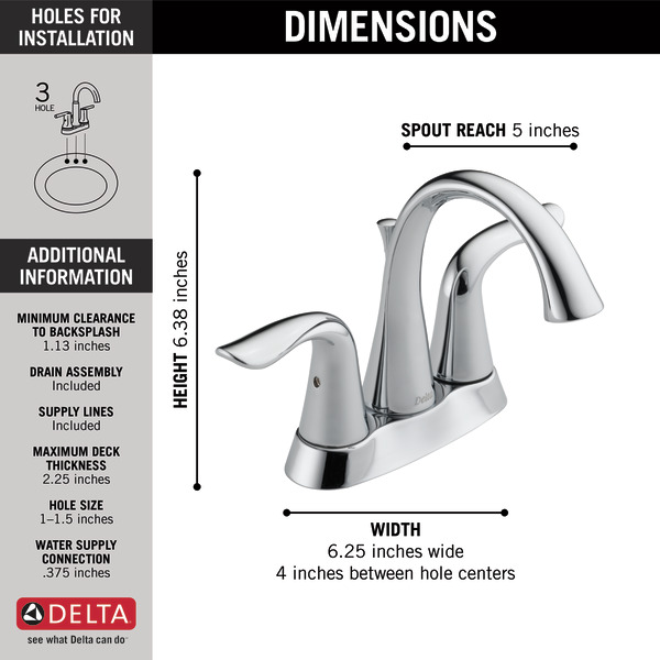 Two Handle Centerset Bathroom Faucet 2538-MPU-DST | Delta Faucet