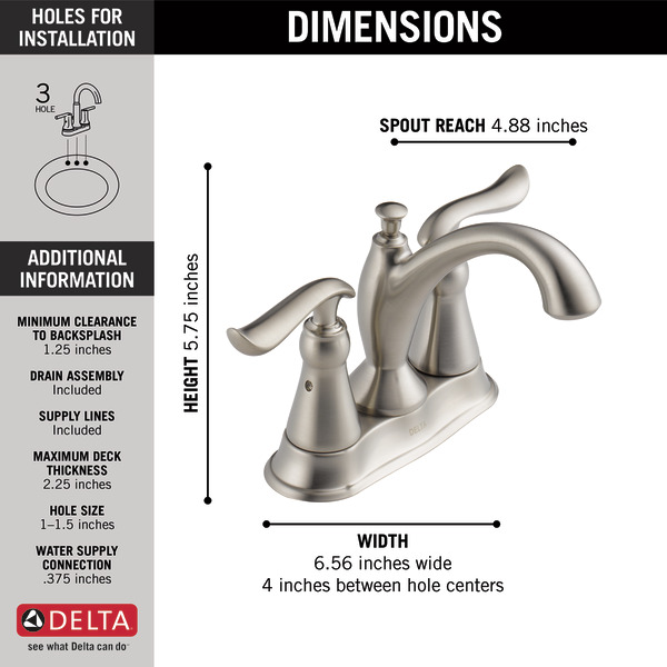 Two Handle Centerset Bathroom Faucet 2594-SSMPU-DST | Delta Faucet