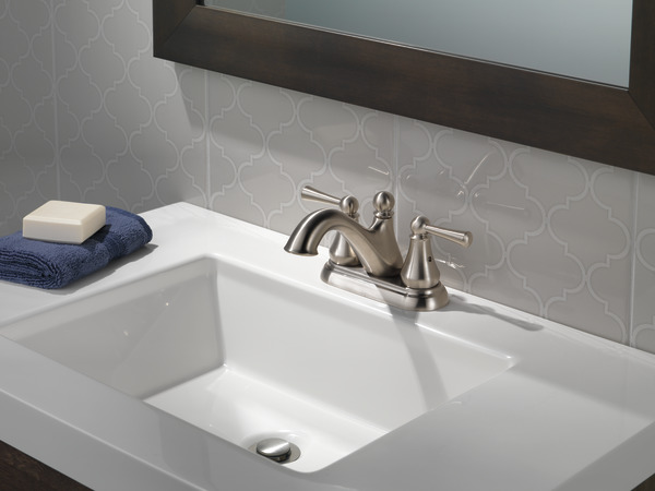 7 Faucet Finishes For Fabulous Bathrooms: Two Handle Centerset Bathroom Faucet 25999LF-SS