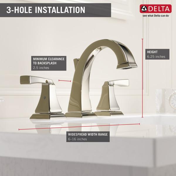 Two Handle Widespread Bathroom Faucet 3551lf Pn Delta Faucet