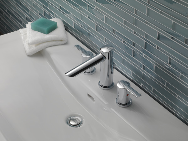 7 Faucet Finishes For Fabulous Bathrooms: Two Handle Widespread Bathroom Faucet 3561-MPU-DST