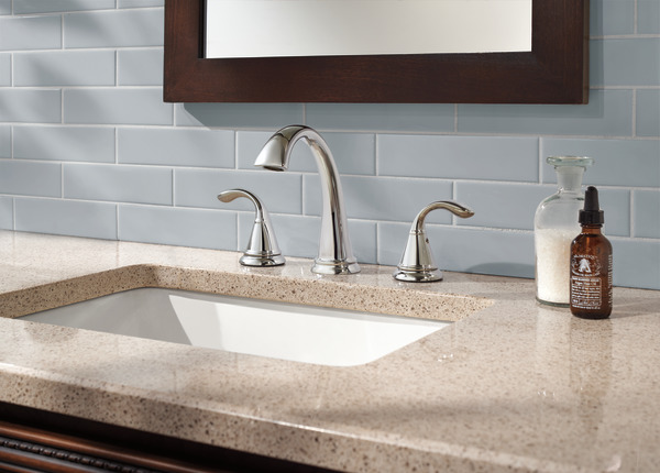 7 Faucet Finishes For Fabulous Bathrooms: Two Handle Widespread Bathroom Faucet 35706LF-SS
