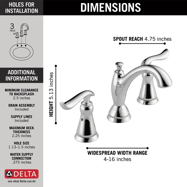 Two Handle Widespread Bathroom Faucet 3594 Mpu Dst Delta