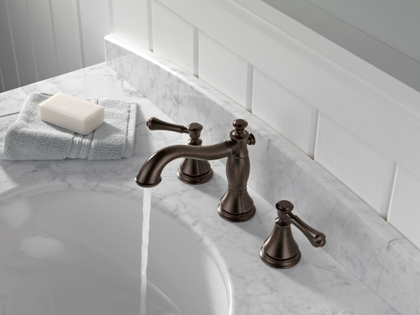 7 Faucet Finishes For Fabulous Bathrooms: Two Handle Widespread Bathroom Faucet 3597LF-RBMPU