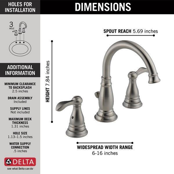 Two Handle Widespread Bathroom Faucet 35984LF-BN-ECO   Delta Faucet