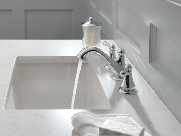 7 Faucet Finishes For Fabulous Bathrooms: Two Handle Widespread Bathroom Faucet 35999LF