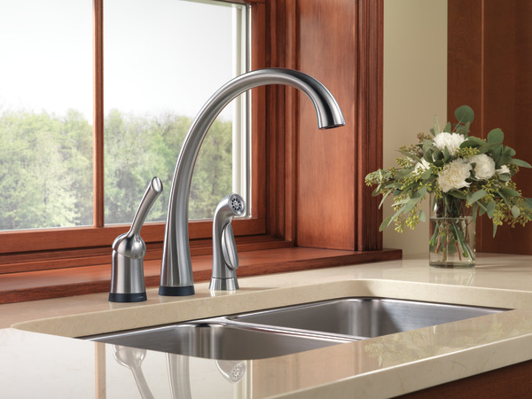 dst single handle kitchen faucet with touch2o technology and spray