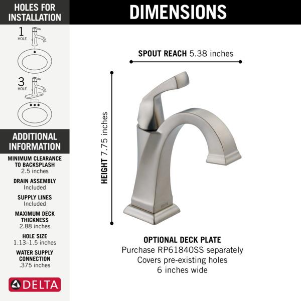 Single Handle Bathroom Faucet 551-SS-DST | Delta Faucet