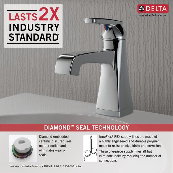 Single Handle Bathroom Faucet MPUDST Delta Faucet - One piece bathroom faucet