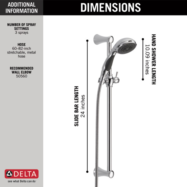 57014 - Premium 3-Setting Slide Bar Hand Shower