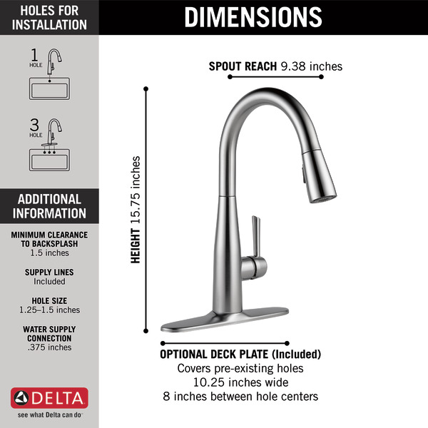Single Handle Pull Down Kitchen Faucet 9113 Ar Dst Delta Faucet