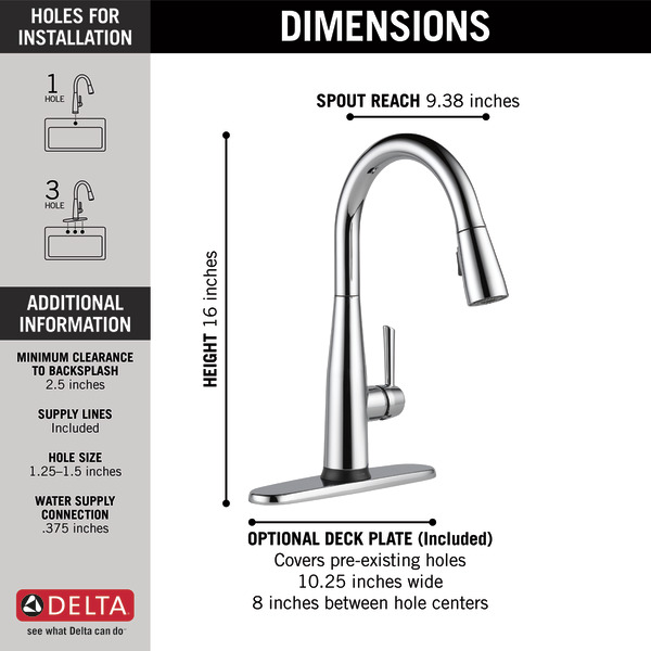 dst single handle pull down kitchen faucet with touch2o technology
