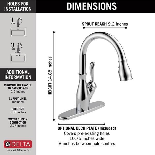 Single Handle Pull Down Kitchen Faucet With Shieldspray Technology 9178 Dst Delta Faucet