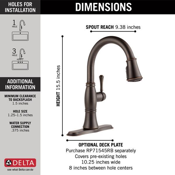 Delta cassidy kitchen faucet oil rubbed bronze dandk for Garage door opener stopped working after storm