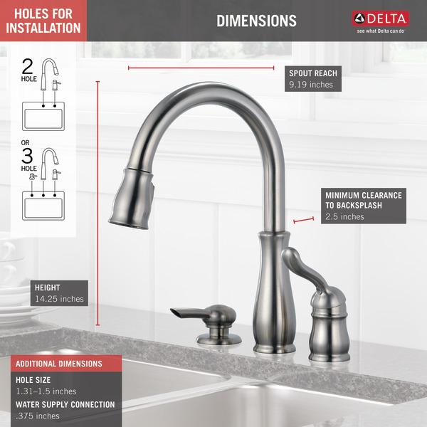 Single Handle Pull Down Kitchen Faucet With Soap Dispenser 978 Sssd Dst Delta Faucet
