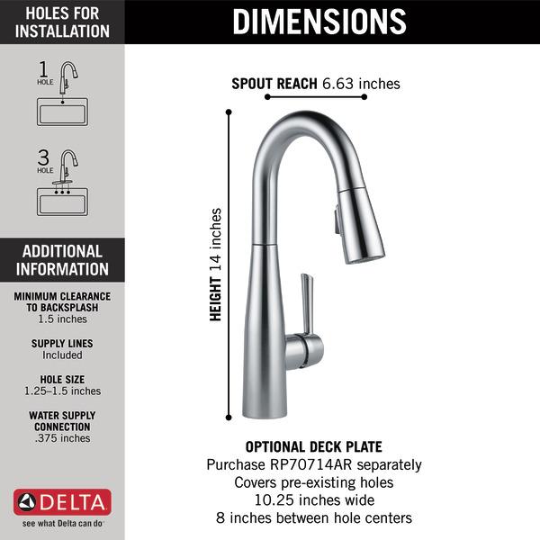 Single Handle Pull Down Bar Prep Faucet 9913 Ar Dst