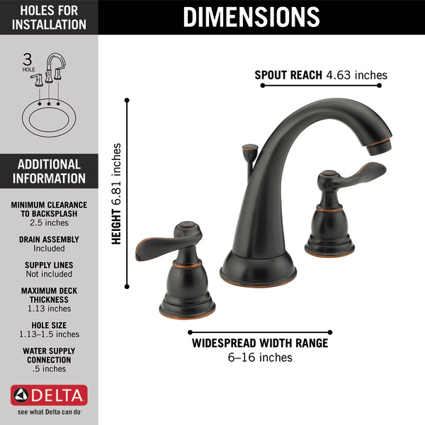 Delta Windemere Widespread Bathroom Faucet With Double Lever Handles Reviews: Two Handle Widespread Bathroom Faucet B3596LF-OB