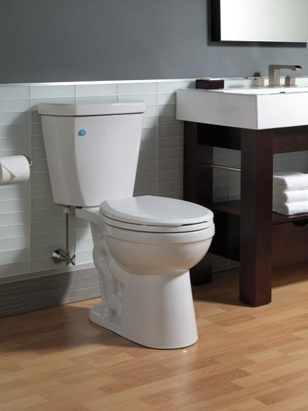 Toilet With Flushiq 174 Round Front C41903t Wh Delta Faucet