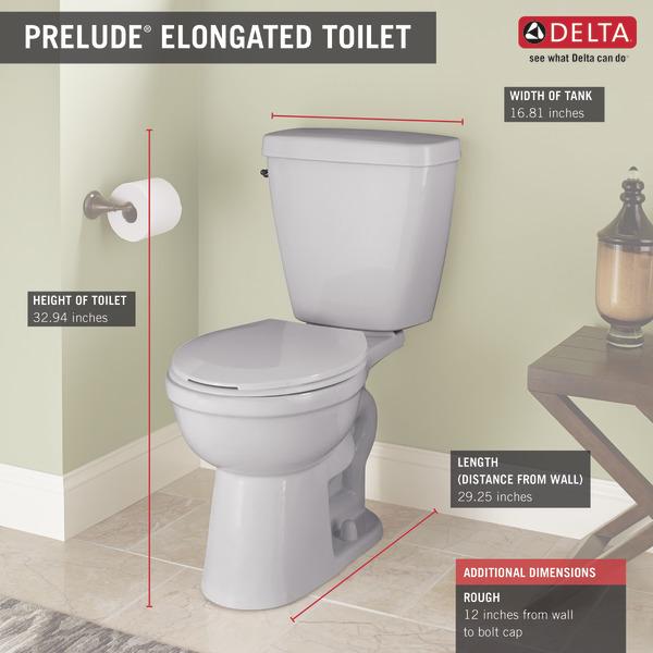 Elongated Toilet C43901 Wh Delta Faucet