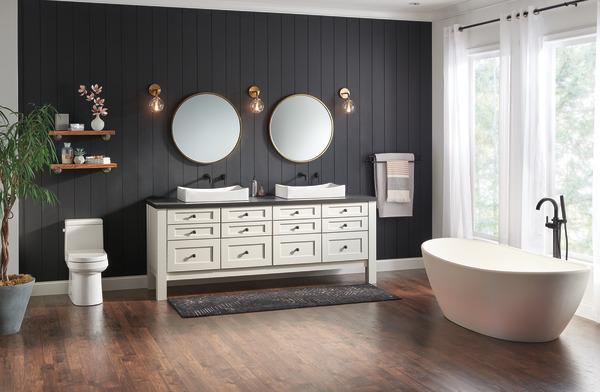 7 Faucet Finishes For Fabulous Bathrooms: Single Handle Wall Mount Bathroom Faucet Trim T3559LF-BLWL