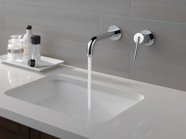 7 Faucet Finishes For Fabulous Bathrooms: Single Handle Wall Mount Bathroom Faucet Trim T3559LF-WL