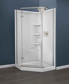 B67916-3838-WH - 38\'\' Direct-to-Stud Corner Shower Wall Set