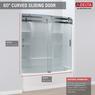 60 Quot X 30 Quot Curved Bathtub Shower Door B55910 6030 Ss