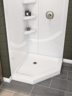 38 Direct To Stud Corner Shower Wall Set B67916 3838 Wh