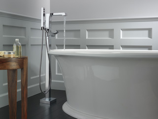 Single Handle Floor Mount Tub Filler Trim With Hand Shower
