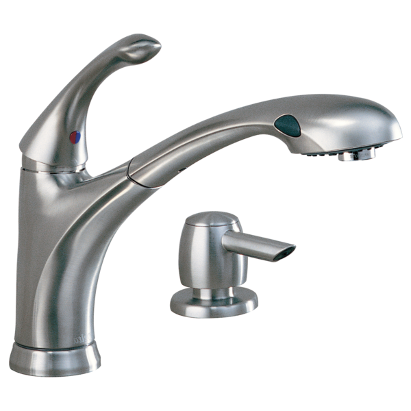 Delightful 16927 SSSD DST   Single Handle Pull Out Kitchen Faucet With Soap Dispenser
