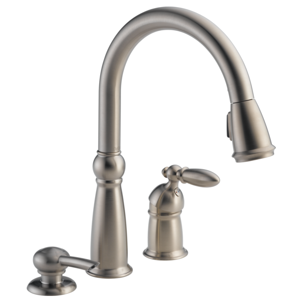 Single Handle PullDown Kitchen Faucet With Soap Dispenser - Delta victorian kitchen faucet