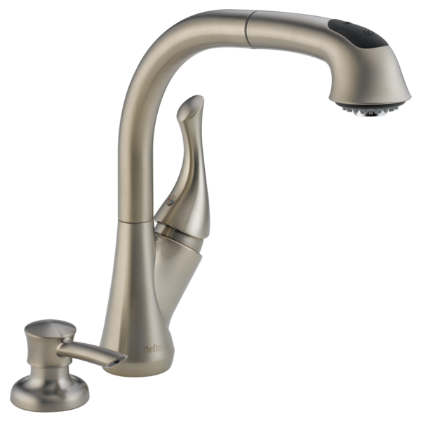 Delta Pull Out Kitchen Faucets 16961-sssd-dst - single handle pull-out kitchen faucet with soap