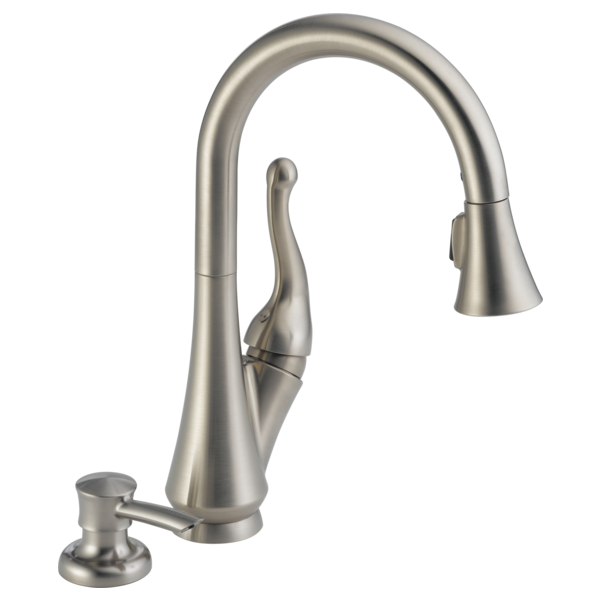 Single Handle Pull Down Kitchen Faucet With Soap Dispenser