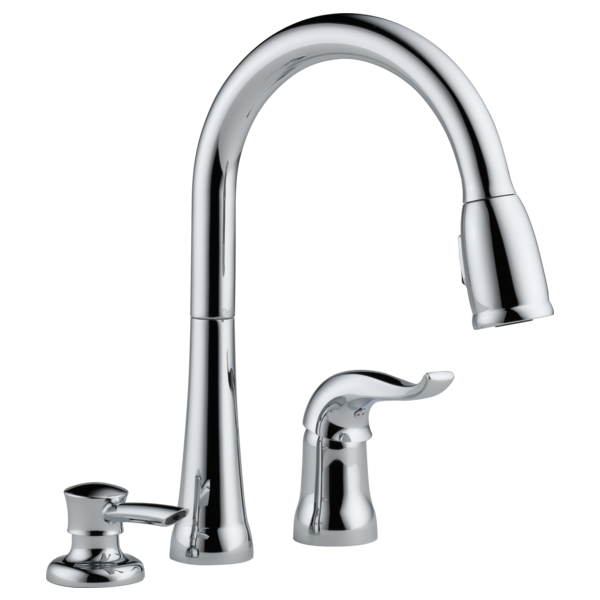 Single Handle Pull-Down Kitchen Faucet with Soap Dispenser 16970-SD on under shelf soap dispenser, under kitchen soap pump, under kitchen sink faucets, under kitchen sink drawer, under kitchen sink towel bar, under kitchen sink lighting, under cabinet soap dispenser, under kitchen sink shelf,